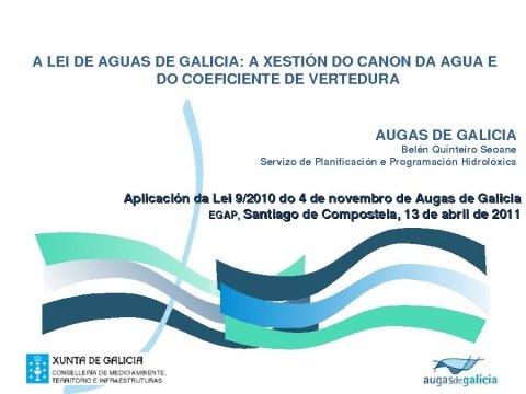 Presentación, Belén Quinteiro Seoane. - Xornada sobre a Lei 9/2010, do 4 de novembro, de Augas de Galicia